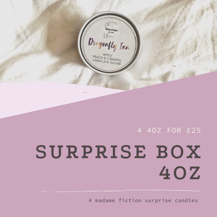 SURPRISE BOX - 4 4oz candles - Scented Soy Candle - Book Lover Gift