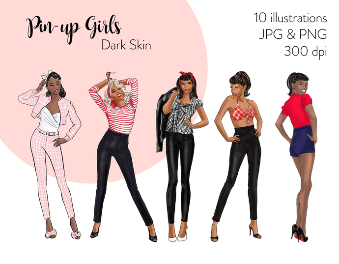 Watercolor fashion illustration clipart - Pin up Girls - Dark Skin