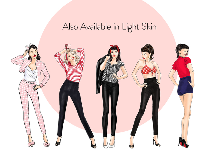 Watercolor fashion illustration clipart - Pin up Girls - Dark Skin