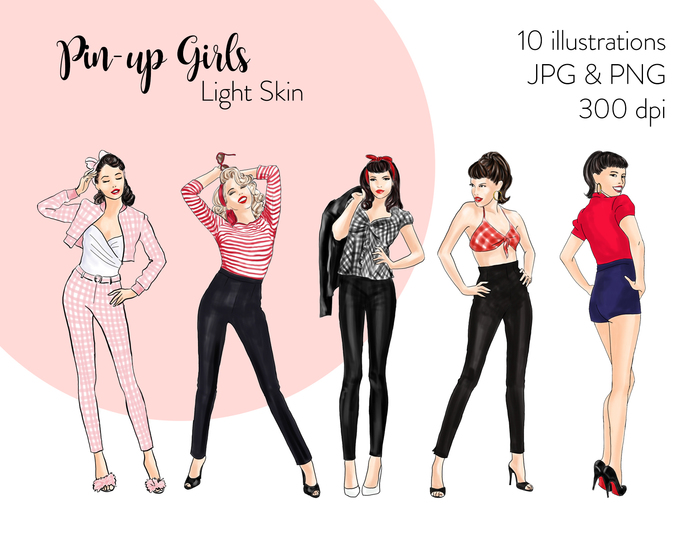 Watercolor fashion illustration clipart - Pin up Girls - Light Skin