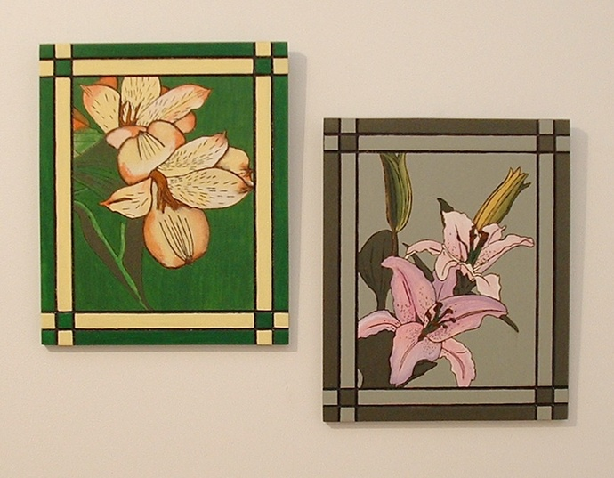 Wood Pyrography, Wall Art, Lily's, Floral Hand Painted Wall Hanging