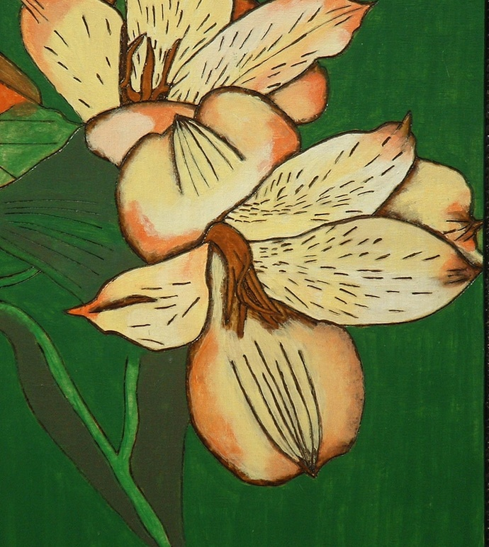 Pyrography Yellow Flower, Wood Wall Art, Hand Painted