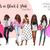 Watercolor fashion illustration clipart - Girls in Black & Pink - Dark Skin