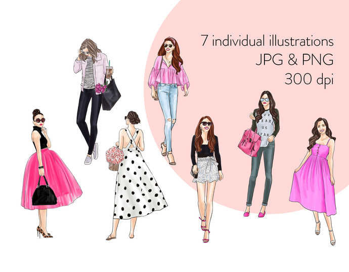Watercolor fashion illustration clipart - Girls in Black & Pink - Light Skin
