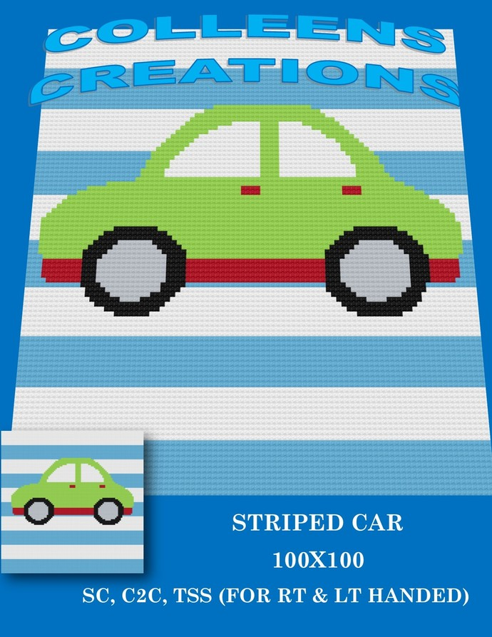 Striped Car -Baby- Crochet Written and Graph Design