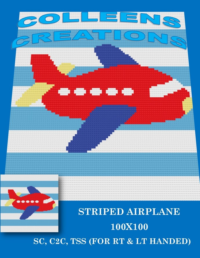 Striped Airplane -Baby - Crochet Written and Graph Design