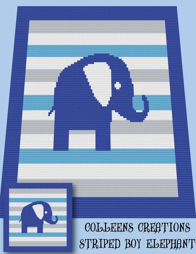 Striped Boy Elephant Baby Crochet Written and Graph Design
