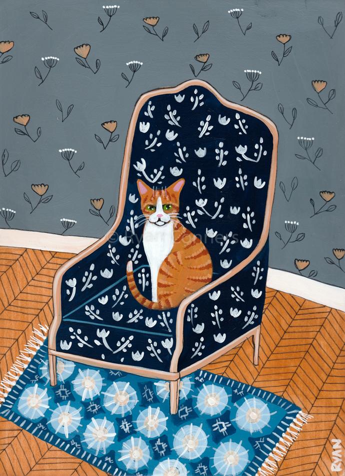 Ginger Kittys Favorite Chair Original Cat Folk Art Painting