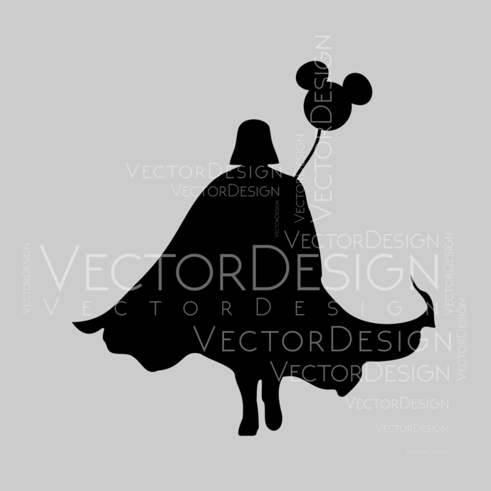 Darth Vader with Balloon Star Wars Disney Graphics SVG Dxf EPS Png Cdr Ai Pdf