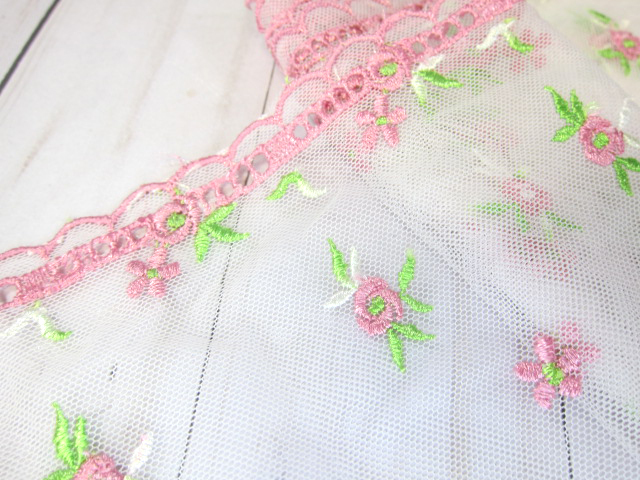 Lace Embroidered Flower Wide Tulle Lace Fabric Shabby Chic -  10-inch White/Pink