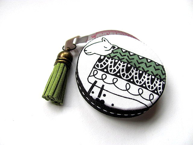 Measuring Tape Green, Black and White Modern Sheep  Retractable Tape Measure