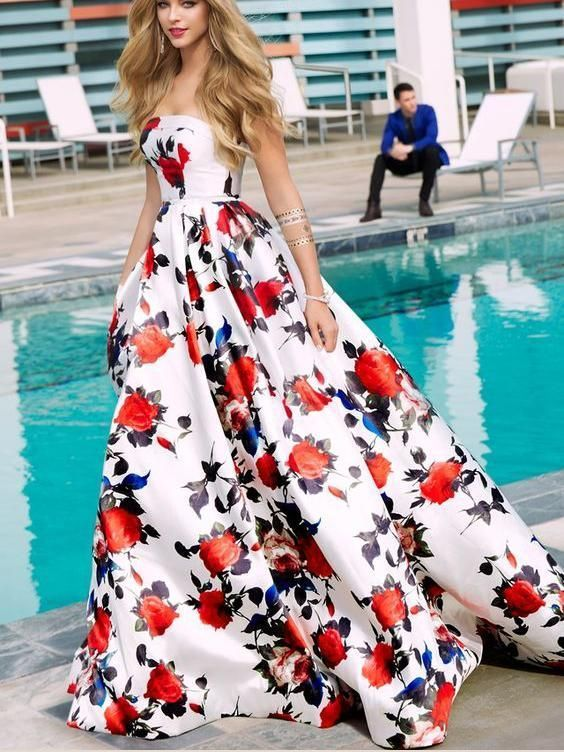 Floral Print Prom Dresses Strapless Aline Sweep Train Long White Prom Dres