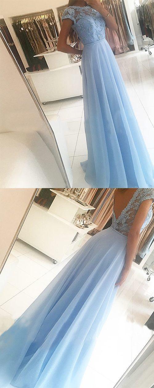 Light Blue Backless Long Prom Dress