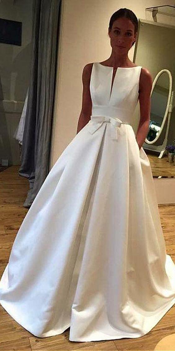 Elegant Satin Bateau Neckline A-line Wedding Dress With Bowknot
