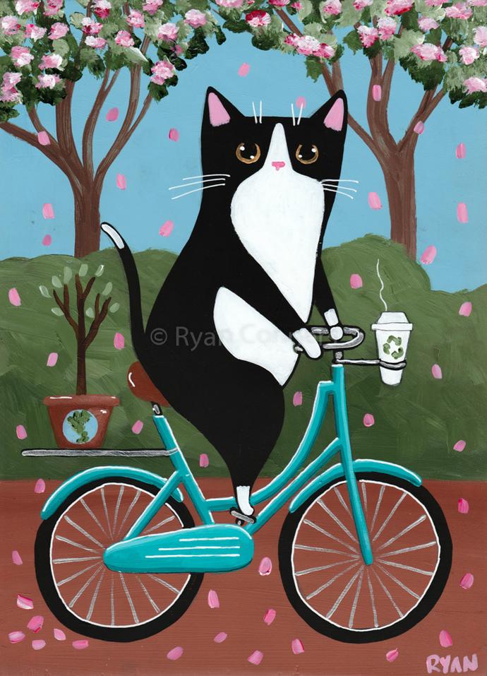 Earth Day Bicycle Ride Original Cat Folk Art Painting