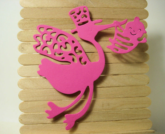 LARGE Stork Carrying Baby Metal Cutting Die Style #3