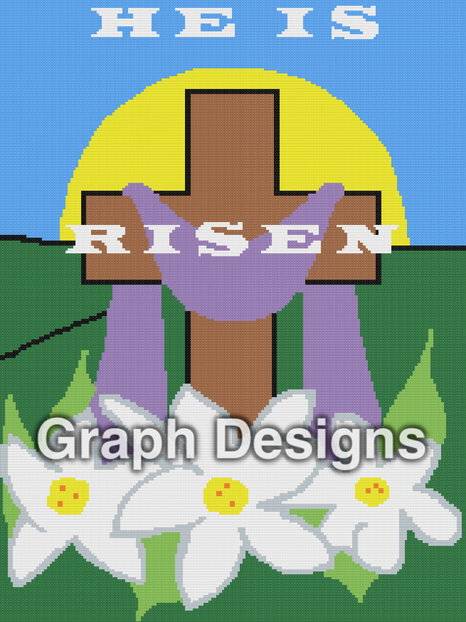He is Risen - SC - 180x240 Throw - Graph w/Written