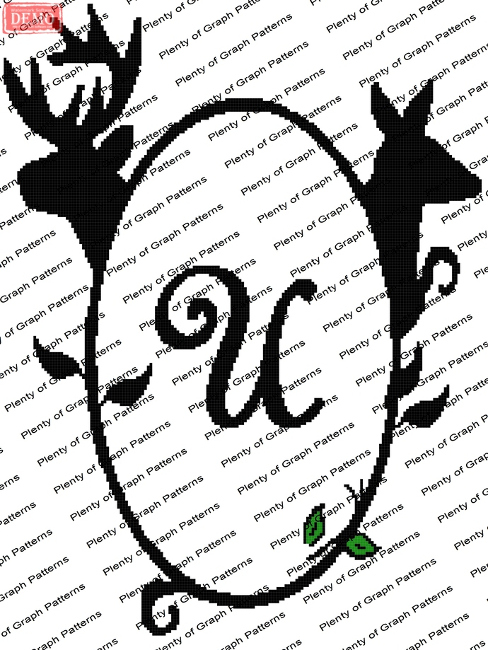 Buck and Doe Frame U graph and written pattern