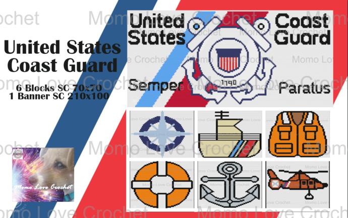 United States Coast Guard Bundle!  6 Blocks/ 1 Banner - Zip File