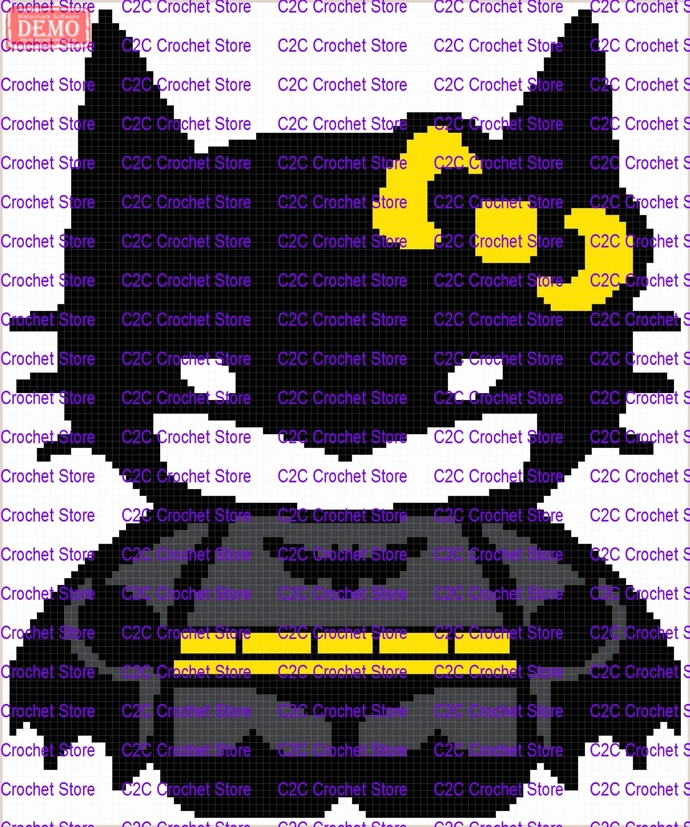 mini C2C hello kitty batman graph only graphghan pattern