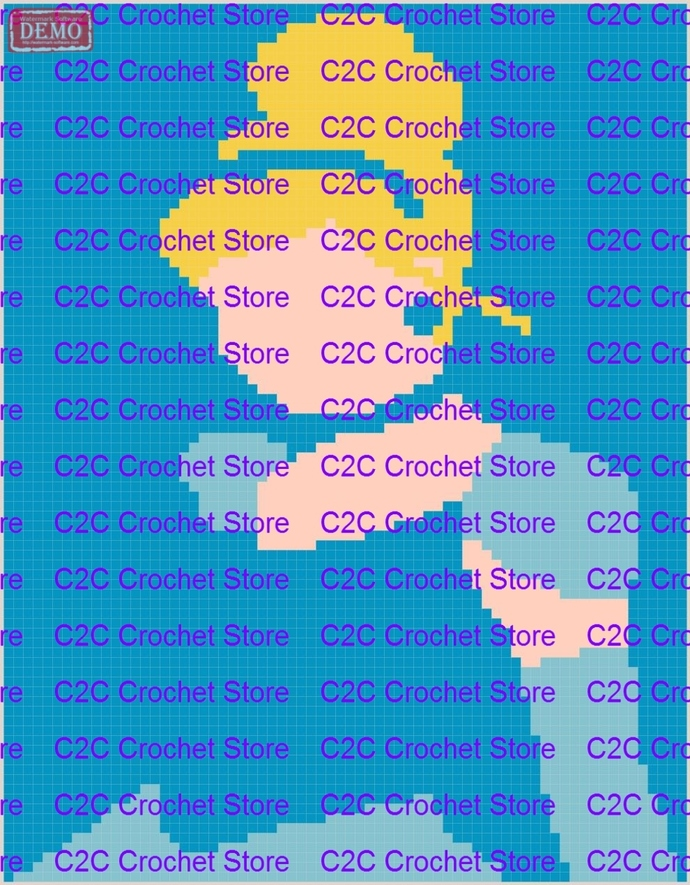 C2C Cinderella silhouette graph only graphghan pattern