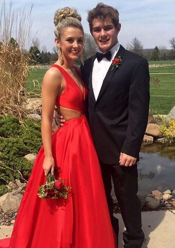 Cute Taffeta Fully Lined Prom Dress with Open Back
