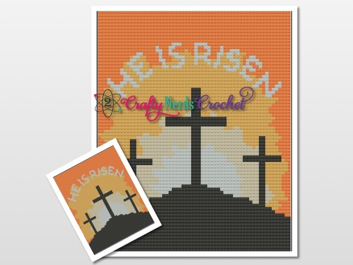He is Risen Calvary Pattern Graph With C2C written