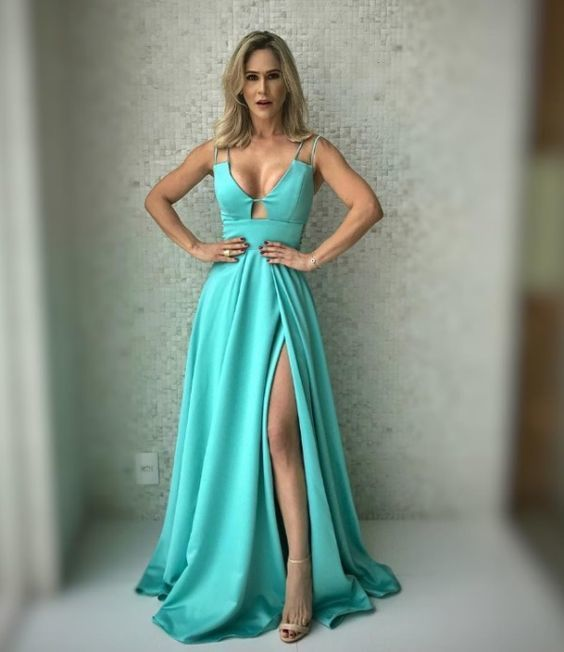 Sexy Long V-neck Leg Split Prom Dresses