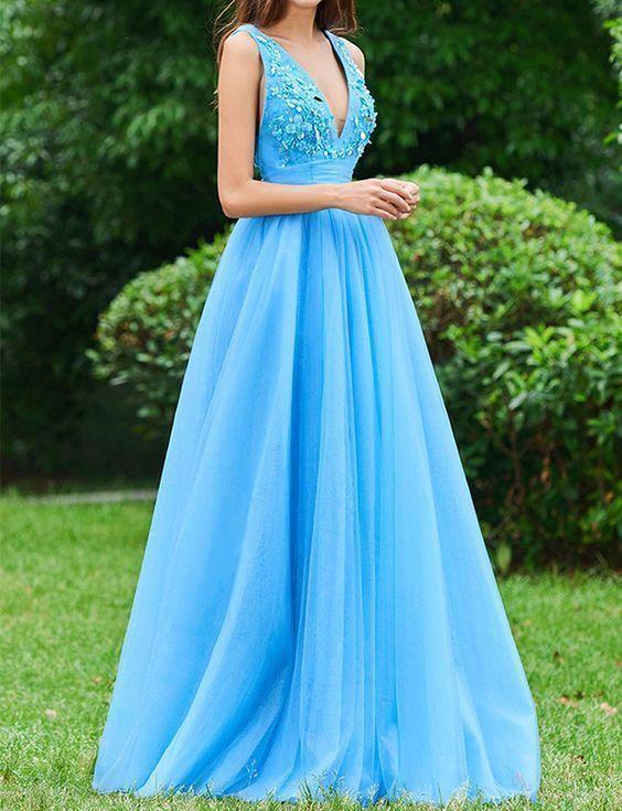Elegant A Line V Neck Floor Length Blue Tulle Prom Dress with Appliques