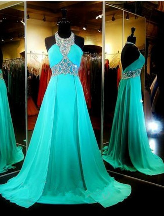 Turquoise Chiffon Prom Dresses Long A-line Evening Dresses Backless Formal Gowns