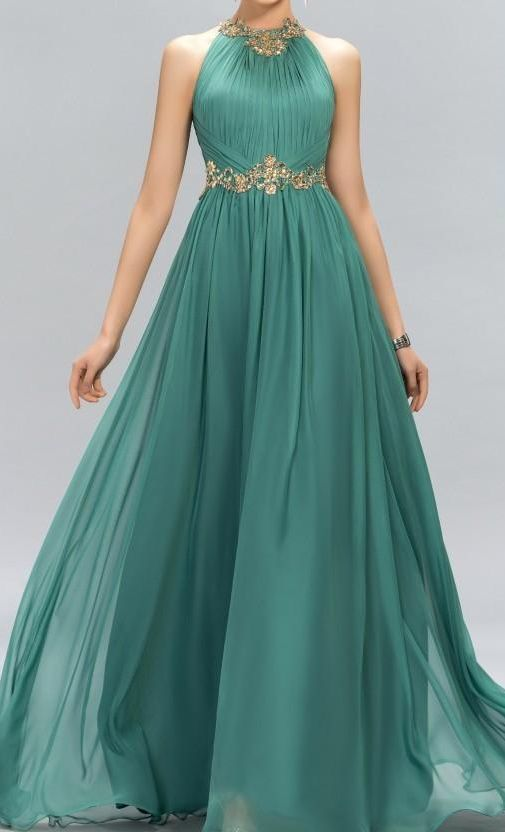 New Green Prom Dresses Halter Crystal Beads Ruffles A Line Long Modest Formal