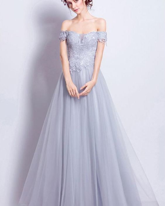 Dusty Blue Off the Shoulder Lace Appliqued Bodice Long Prom Dress