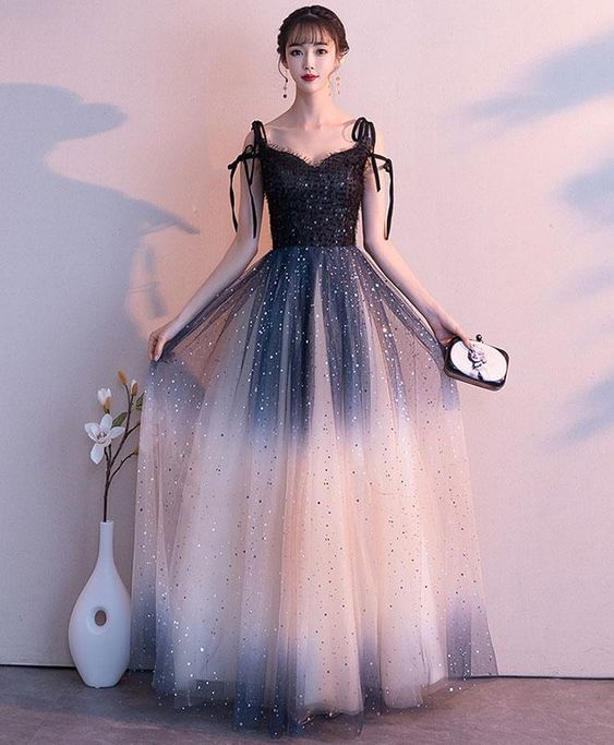 Black sweetheart tulle sequin long prom dress, black evening dress