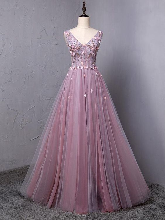 Dusty Purple V Neck A-line Tulle Long Evening Prom Dresses