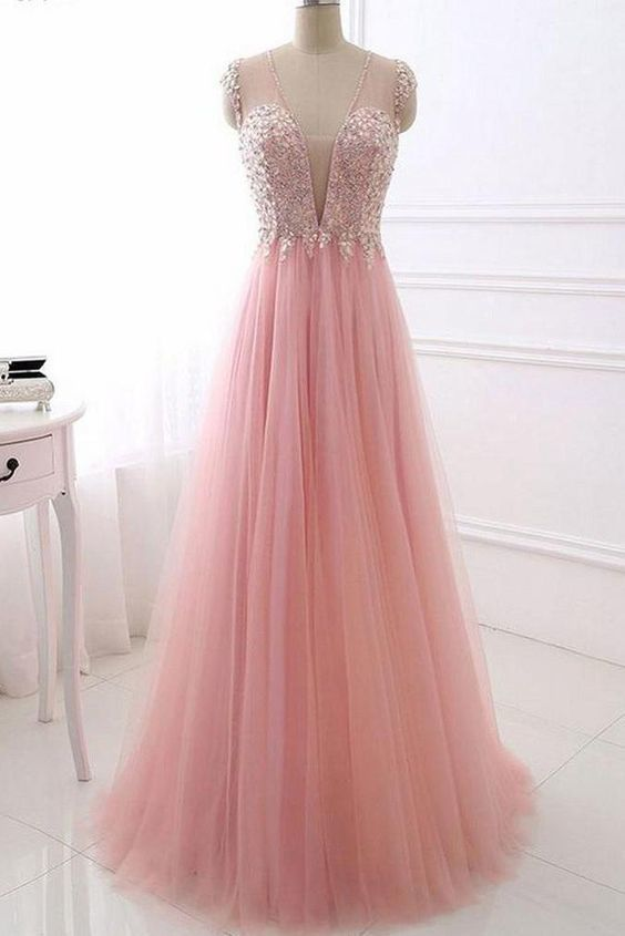 Delicate Pink V Neck With Beading Tulle See Through Back Prom Dress