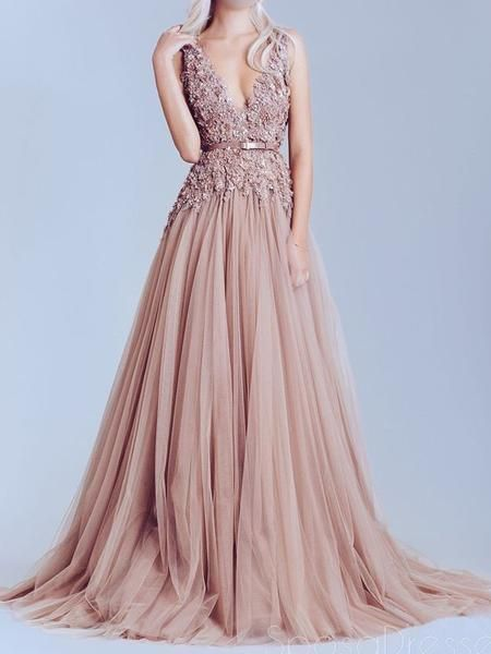 Dusty Pink Tulle Off shoulder Lace Best Sale Elegant Party Prom Dress