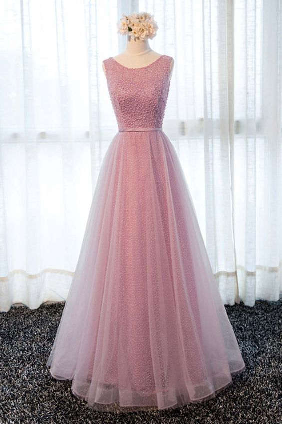 Pink tulle long lace halter sweet 16 prom dress, long spring party dresses