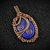 Lapis Luzuli Copper Pendant includes chain; Woven & Wire Wrapped Pendant (P115)
