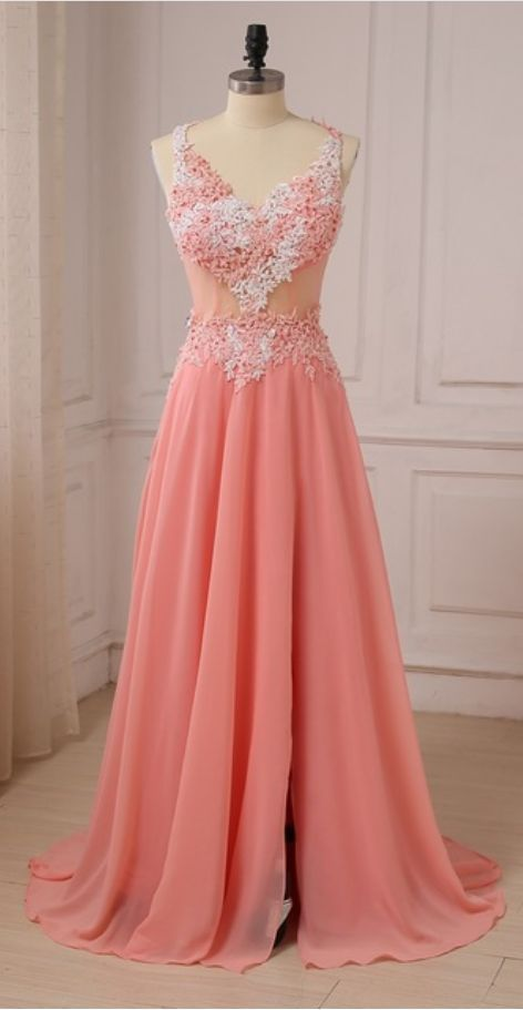 Charming Appliques Evening Dress, A Line Long Prom Dress, Sexy Prom Dresses