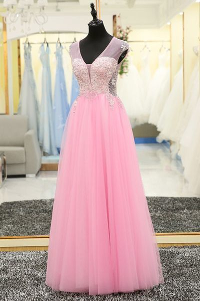 Charming Prom Dress,Tulle Pink Prom Dress,Tulle Homecoming Dress,Lace Evening