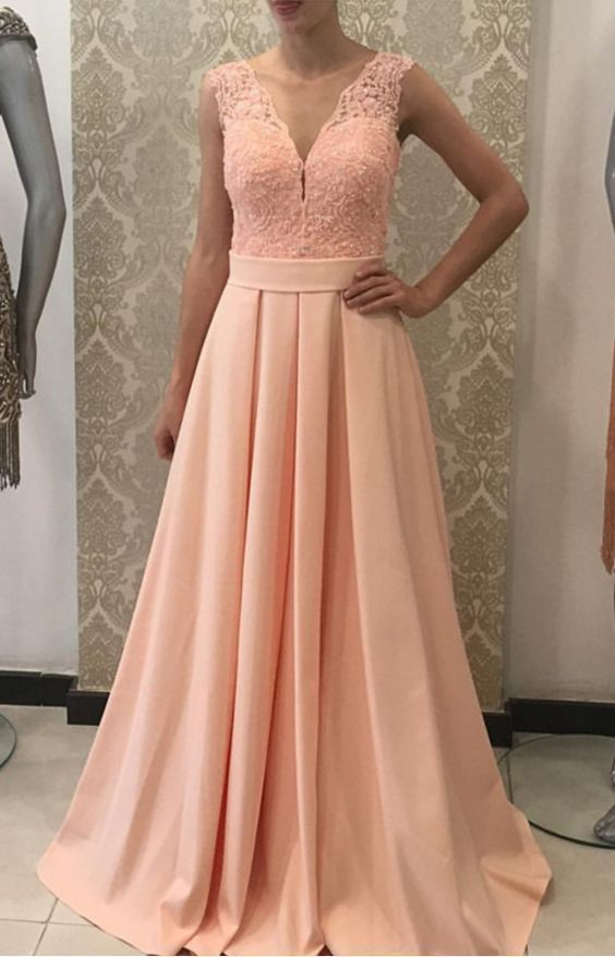 A-line V Neck Long Prom Dress,Pink Lace Prom Dresses,Long Evening Dresses