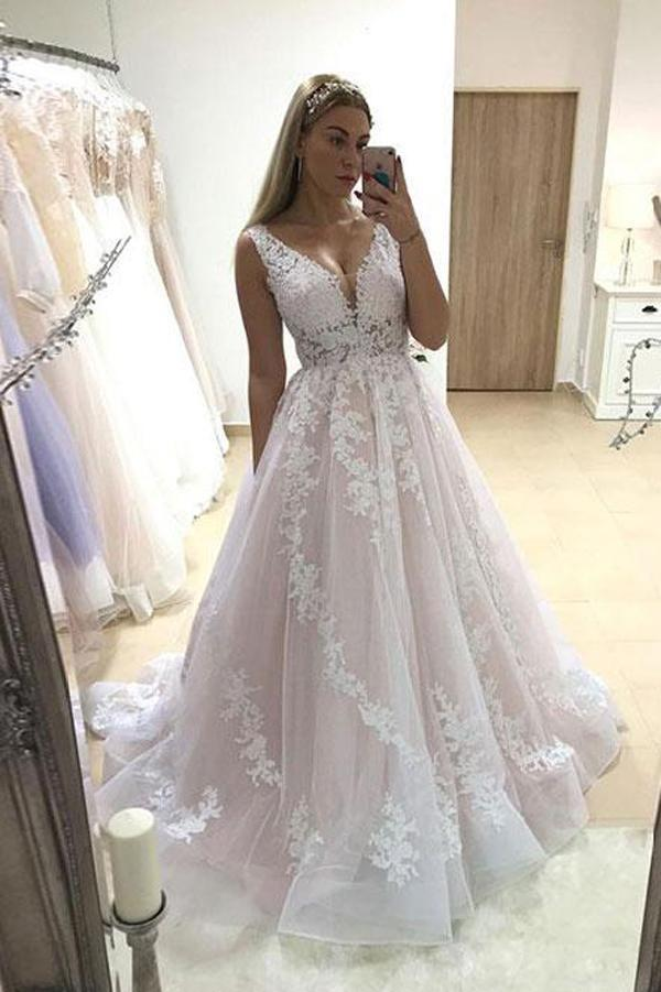 Charming Pink A-line Tulle V-neck Lace Long Wedding Dress with Appliques