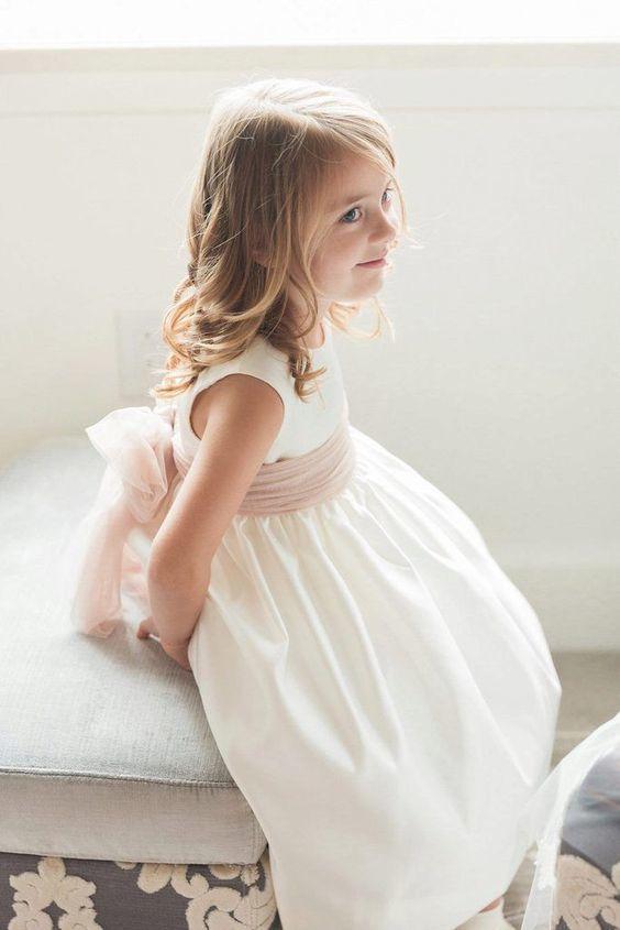 Flower girl dress white with rose
