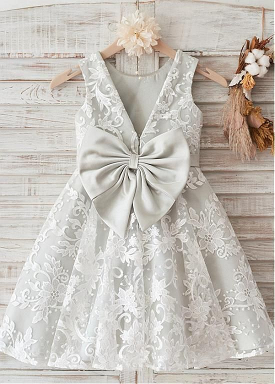 Amazing Lace & Satin Scoop Neckline Knee-length A-line Flower Girl Dresses