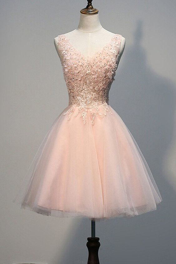 Popular Pink Prom Dresses Short  Pearl Pink Homecoming Dresses With Appliques