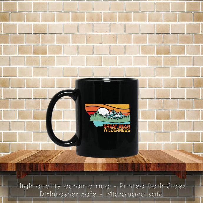 Great Bear Montana Outdoors Retro Mountains Coffee Mug, Tea Mug, Coffee Mug,