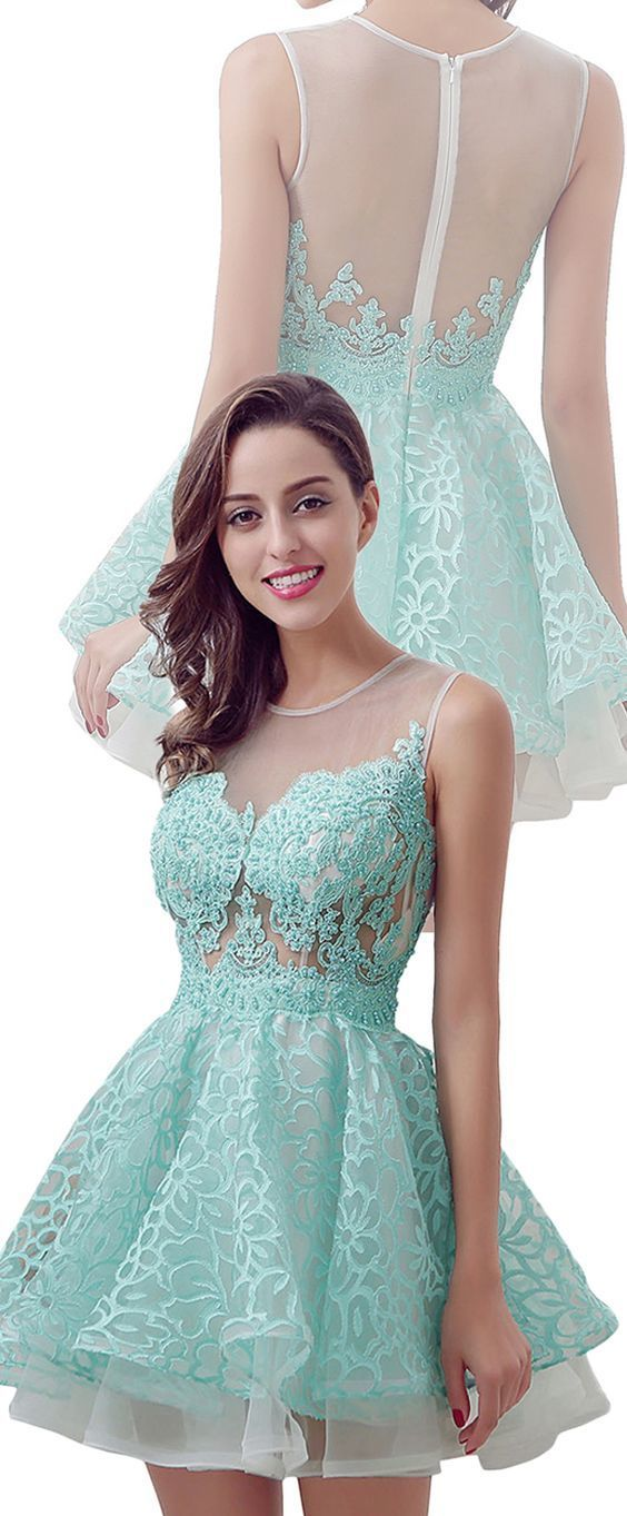 Tulle Homecoming Dress,Lace Homecoming Dresses,Blue Homecoming Dress,Fitted