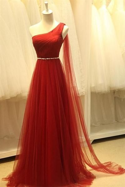 Real Beautiful Long One Shoulder High Low Tulle Prom Dresses