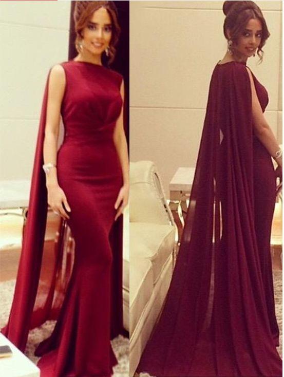 Chiffon Evening Dress ,Burgundy Special Occasion Women Dress,Mermaid Robe Prom