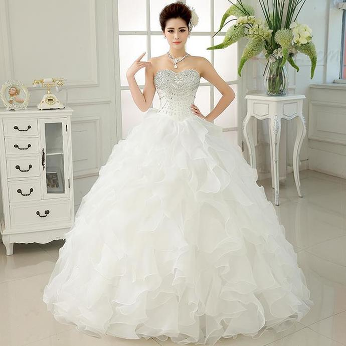 Ball Gown Wedding Dresses,Ruffles Bridal Gowns,Long Organza Wedding Dresses with